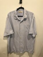 Tommy Bahama Mens Button Down Hawaiian Shirt XL 100% Silk Sunrise Blue Embossed