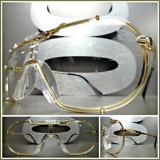 Men's Women VINTAGE SHIELD Style Clear Lens EYE GLASSES Gold Metal Fashion Frame