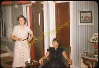 Pretty Women Dresses 1950s 35mm Slide Vtg Kodachrome Smoking Cigarette Fashion