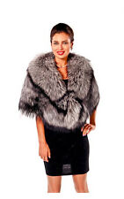 Womens Plus Size Fur Capelet Wrap Silver Fox Fur Cape Real