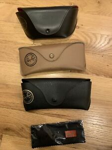3 Rayban Glasses Case Black gold red interior tan and black sunglass cases