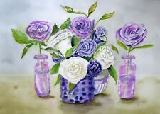 """Enchanted Purple Roses"", creativity, magic, Love, original watercolor, floral"