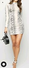 PARISIAN size 8 white BODYCON DRESS long sleeves SNAKE PRINT party NEW LOOK
