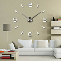 Wall Clock Large Watch Decal 3D Sticker DIY Home Office Room Wall Clocks Decor