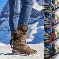 Damen Schlupf Stiefeletten Boots Winterstiefel Schnee Stiefel Warm Flache Schuhe