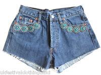Vintage Levi 501 Denim Cut Off Shorts, Size UK 4, 6, 8 & 10. Crystals & Jewels