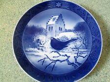 Royal Copenhagen Christmas Plate 1966 Black Bird Signed Kai Lange