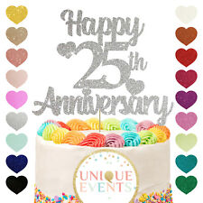 Happy 25th anniversary glitter silver cake topper silver years 25yrs 25 wedding