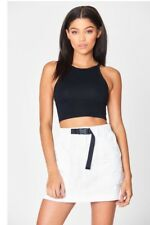 Last one! LF carmar high rise white buckle belted cotton skirt NWT sz 10