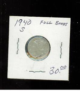 1940 S USA Dime 10 cent coin Full Bands