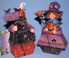 Roman Woodworks Scarecrow & Witch w jack o lantern, ghost Halloween, Autumn