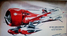 "Vintage GEE BEE SUPER SPORTSTER UC PLAN Enlarged to 49"" Span Model Airplane"
