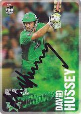 ✺Signed✺ 2014 2015 MELBOURNE STARS Cricket Card DAVID HUSSEY Big Bash League