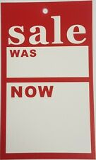 "500 Sale Cards "" SALE WAS / NOW "" Swing Price Tickets Red/White 9.5cm x 5.75cm"
