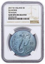 2017 British Virgin Islands Seahorse Turquoise Titanium $5 NGC Gem Unc SKU45717