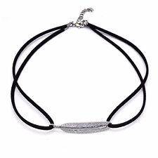 Ante de imitación & Horizontal De Plata Antigua PLT llamativa Gargantilla Collar Colgante Regalo de plumas