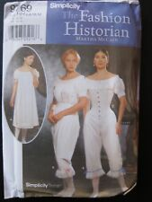 Simplicity 9769 The Fashion Historian Size 6-8-10-12 Civil War UndergarmentsNEW