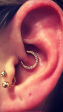 14kt Solid Yellow gold Daith Piercing Ring With Cz's