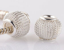 5pcs silver gauze hollow big hole spacer beads fit Charm European Bracelet A942