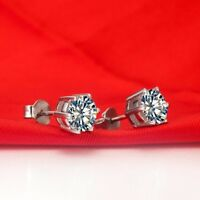 2 Ct Round D/VVS1 Diamond Solitaire Stud Earrings Solid 14K White Genuine Gold