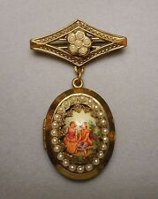 1950s Karu Fifth Avenue Victorian Style Locket Brooch - Miniature of Lovers