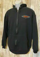 HOOTERS Racing Black Full Zip Hoodie Sweatshirt Jerzees Men's Size L