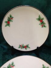"2 Christmas Triomphe TR12 HOLLY & RED BERRIES SALAD Plates 8 1/2 "" USA Platinum"