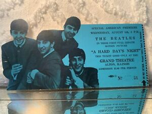 RARE THE BEATLES (A HARD DAYS NIGHT)  ORIG,1964 SPECIAL MOVIE PREMIERE TICKET JH