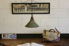 Vintage Antique Industrial Pendant Shop Pressed Tin Green Factory Lamp Light 30s