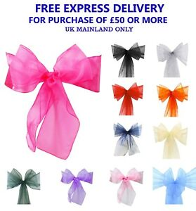 Pack of 10 ORGANZA SASHES Chair Cover Decor Fuller's Bow Ribbon Reception UK