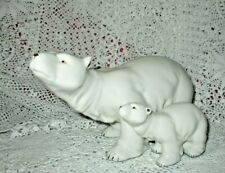 Large Polar Bear With Cub & Gold Accents Statue Figurine 9 inches Long
