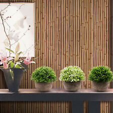 3 Pieces Artificial Plants Mini Plastic Fake Green Grass Topiary Shrub Gray Pot