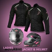 Ladies Motorbike Helmet Motorcycle Womens Scooter Waterproof Textile Jacket Coat