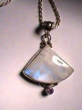 "925 Sterling Silver White Blue Haze Pendant And 24"" Rope Chain"