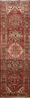 Geometric Semi-Antique Heriz Runner Rug Wool Hand-knotted Oriental Carpet 3'x10'