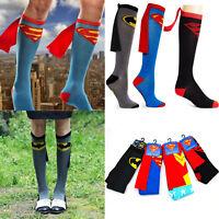 Adult Kid Super Hero Superman Batman Knee High With Cape Cosplay Long Boot Socks