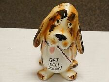 VINTAGE RUEBENS Get Well Soon Dog and Thermometer Pottery Planter Figurine