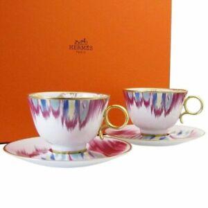 Hermes Tea Cup Saucer Voyage en Ikat Tableware 2 set Ornament Porcelain Auth New
