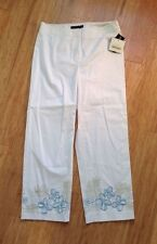 "NWT Apostrophe White ""Exotic Garden"" Floral Embroider Hem Sz 4 Stretch Crop Pant"