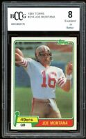 1981 Topps #216 Joe Montana Rookie Card BGS BCCG 8 Excellent+
