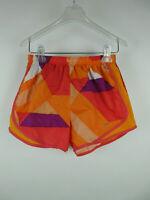 Nike Women's sz S Polyester Dri-Fit Stretch Geometric Orange Athletic Shorts