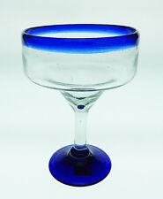 Mexican margarita glass traditional blue rim, 16 oz hand blown by artist (1)