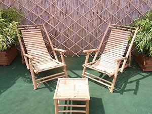 Liegestuhl Sonnenliege Bambus Relaxliege Bambusmöbel Armlehne NEU