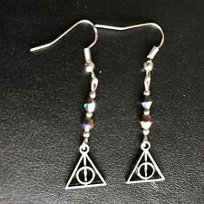 Funky Deathly Hallows Harry Potter inspired Drop Earrings in Gift bag