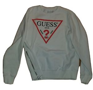 Guess USA Los Angeles Mens S Sweatshirt Crew Neck Retro Zip Side Jeans White