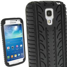 Schwarz Silikon Tasche für Samsung Galaxy S4 SIV Mini I9190 I9195 Reifen Hülle