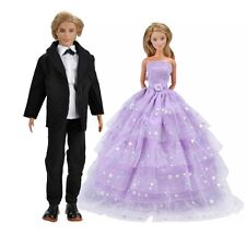 Doll Clothes Wedding Dress Evening Party Gown+Formal Suit For Barbie Ken Dolls A