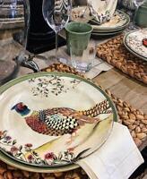Pottery Barn Set 4 Botanical Harvest Bird Dinner Plates 10D Thanksgiving