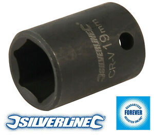 "Silverline Hardened Chrome Vanadium Impact Socket 1/2"" Drive 6 Point Metric 19mm"