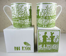 2 NEW IN BOX Rob Ryan Wild & Wolf TO BE IN HEAVEN COFFEE MUG Love Heart Romantic